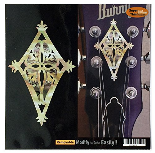 Inlay Sticker Decal Guitar Headstock In MOP Theme - 2pcs SET Shield WP (Guitar Decal Headstock)