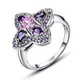 LeoBon Four Leaves Jewelry Gift Engagement Party Rings for Women Lady Pink Topaz Amethyst 18K White Gold Plated Ring Top Selling