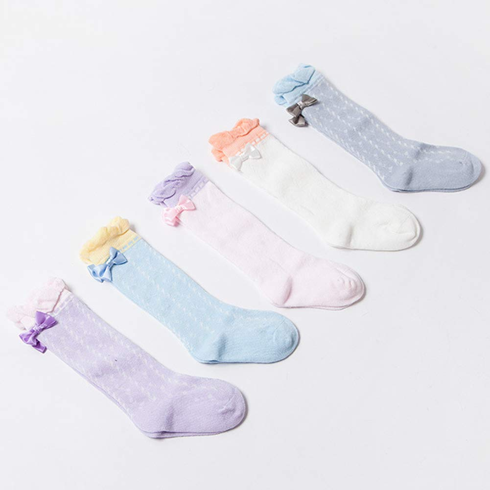 Baby Kids Girls Autumn Candy Color Bow Floral Breathable Below Knee High Socks