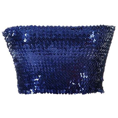 Anna-Kaci Womens Shiny Sequin Party Cropped Strapless Bandeau Stretch Tube Top, Blue, Large/X-Large