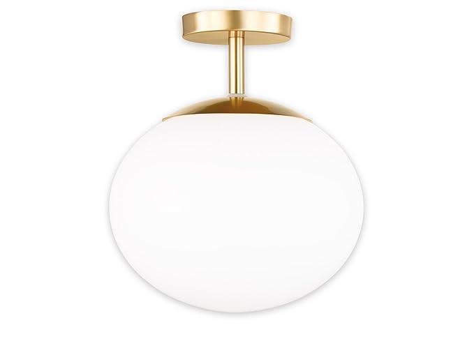 Lampadario Bianco Opaco : Lampada da soffitto boer con lampadine led ottone opaco con sfera