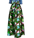 Abetteric Women's African Print Big Pendulum Bowtie Waist Party Long Skirt 15 4XL