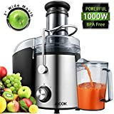 Juicer Juice Extractor Aicok Juicer Machine Wide Mouth 76MM 1000W Centrifugal Juicer Whole Fruit and Vegetable Juicer with Juice Jug and Cleaning Brush, Anti-drip Function