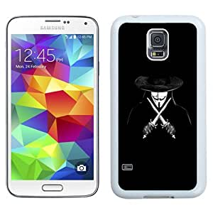NEW Unique Custom Designed Samsung Galaxy S5 I9600 G900a G900v G900p G900t G900w Phone Case With V For Vendetta Man With Knifes_White Phone Case