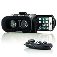 Saxonia VR Box Casque Lunettes de Réalité Virtuelle 3D + Bluetooth Manette noir pour Samsung Galaxy | Universel Vidéo Jeux Simulation