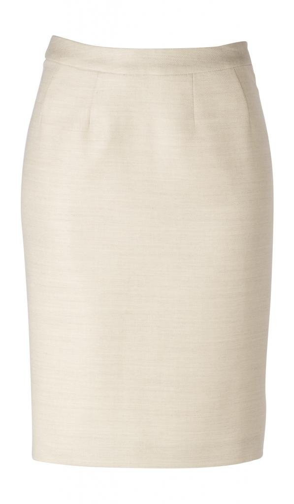 woolmaster Women's Wool/Silk/Linen Pencil Skirt 12 Cream by woolmaster