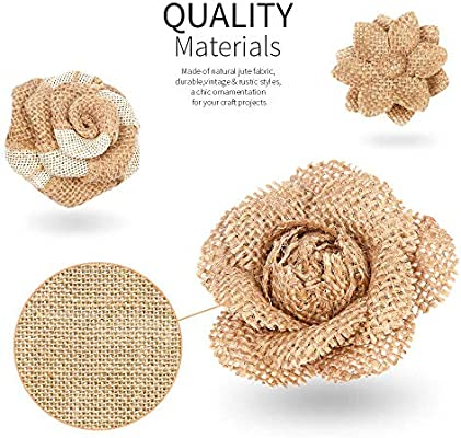 Include 9 Styles Handmade Rustic Burlap Flowers Natural Burlap Flowers Set Lace Burlap Ribbon Roll and Natural Jute Twine for DIY Craft Wedding Gift Tags Wrap Wine Bottle Home Embellishment 23PCS