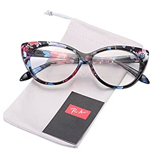 Pro Acme Vintage Inspired Fashion Mod Chic High Pointed Clear Lens Cat Eye Glasses (Floral)
