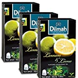 Dilmah Lemon and Lime Flavored Ceylon Black Tea - 20 Tea Bags X 3 Pack - Sri Lanka Ceylon Dilmah Lemon Lime Tea Real Tea