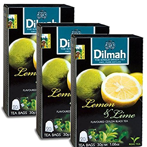 Dilmah Lemon and Lime Flavored Ceylon Black Tea - 20 Tea Bags X 3 Pack - Sri Lanka Ceylon Dilmah Lemon Lime Tea Real Tea by Dilmah