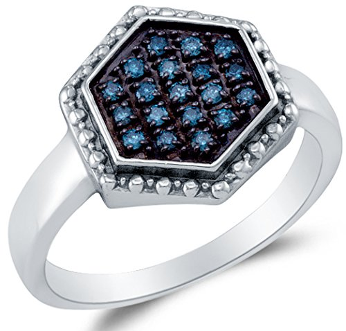 Sonia Jewels Size 10-925 Sterling Silver Blue Round Diamond Halo Circle Fashion Ring - Micro Pave Setting (.18 cttw.) -