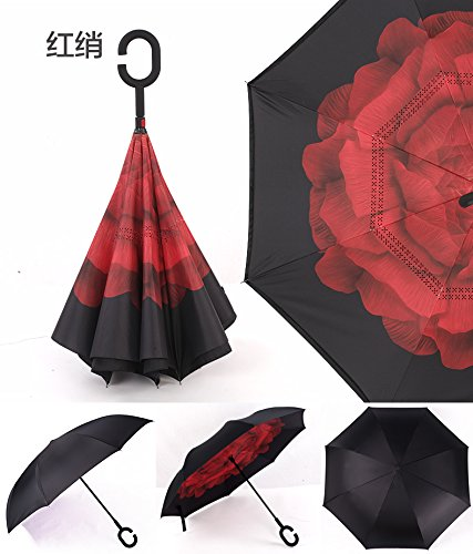 Windproof Reverse Folding Double Layer Inverted Chuva Umbrella Self Stand Inside Out Rain Protection C-Hook Hands For Car (Red FLOWER) ()
