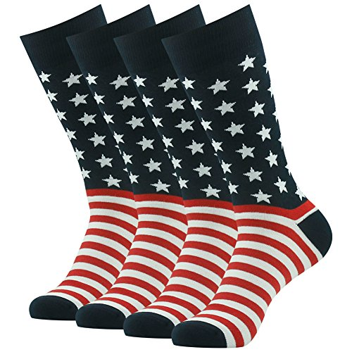 American Flag Socks, SUTTOS Valentines Day Gift Men's Crazy Wonder Fun American Flag Black Red White Striped Stars Heavy Duty Durable Casual Funky Patterned Crew Gift Boot Dress Party Socks,4 Pairs