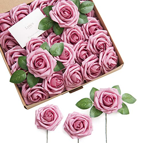 Lings moment Artificial Flowers Elbtal Pink Roses 25pcs Real Looking Fake Roses w/Stem for DIY Wedding Bouquets Centerpieces Arrangements Party Baby Shower Home Decorations
