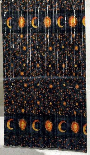 Twilight Celestial Vinyl Shower Curtain Navy Sun Moon Stars