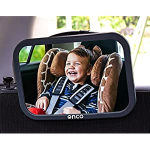 ONCO Baby Car Mirror for Back Seat – 100% Shatterproof Black Baby Car Seat Mirror – Drive Safe and Monitor your Baby…