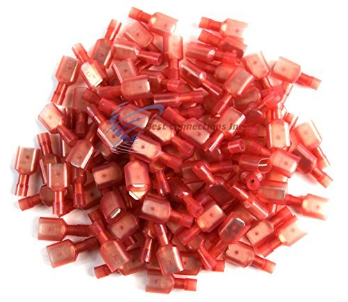 "100 pcs Red Male Disconnect Nylon 22-18 gauge AWG 1/4"" Audio Video 12 volt"