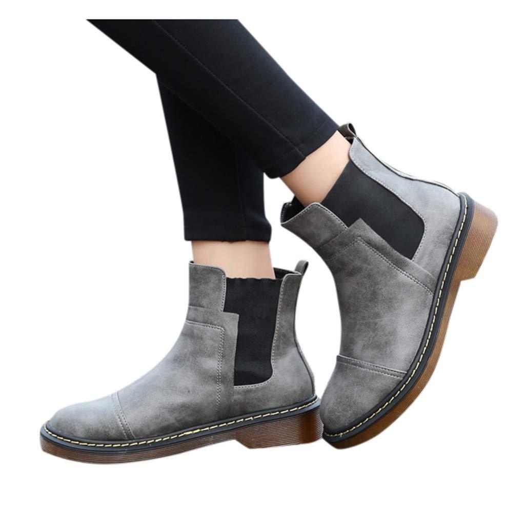 Dainzuy Women's Boots Winter Ankle Short Snow Bootie Roman Footwear Casual Slip on Chunky Heel Warm Shoes by Dainzuy Women's Shoes