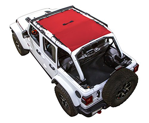SPIDERWEBSHADE Jeep Wrangler JL Mesh Shade Top Sunshade UV Protection Accessory USA Made with 5 Year Warranty for Your JL 4-Door (2018 - current) in Red