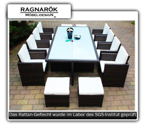 Gartenmöbel PolyRattan Essgruppe Tisch mit 8 Stühlen & 4 Hocker DEUTSCHE MARKE -- EIGNENE PRODUKTION Garten Möbel incl. Glas und Sitzkissen Ragnarök-Möbeldesign braun
