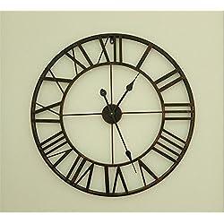 European-style modern minimalist living room clock vintage wrought-iron clock Roman figures rounded creative fashion large wall clock,Black -65cm