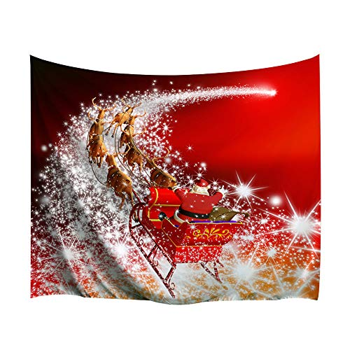 - BEWAVE Christmas Decorations Wall Hanging, 3D Xmas Printed Polyester Fabric Holiday Wall Tapestry Art Valentine's Day for Living Room, Home, Bedroom Mural (51x60Inches, Sleigh on Starlight)