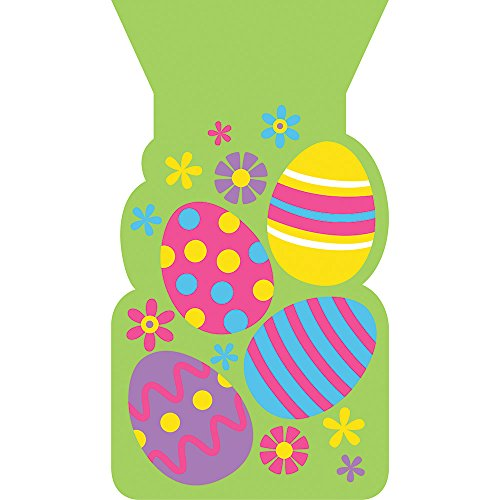 Creative Converting 319419 240 Count Shaped Cello Bags with Twist Ties, Colorful Easter Eggs