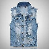 iYYVV Mens Denim Vest Casual Cowboy Jacket Ripped