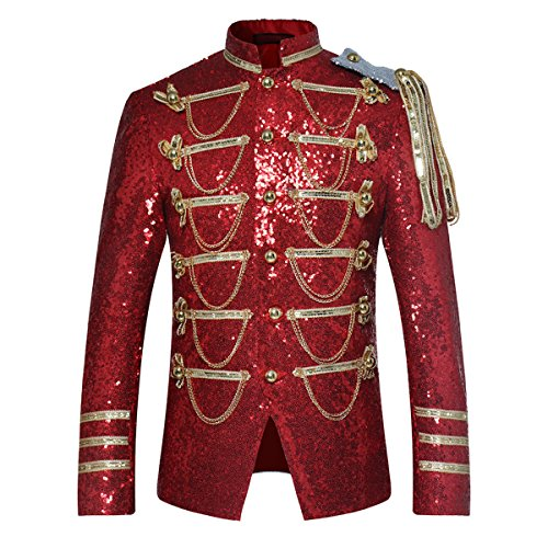 (Mens Party Coats Slim Fit Sequin Blazer Single Breasted Prom Vintage Suit Jacket Red)