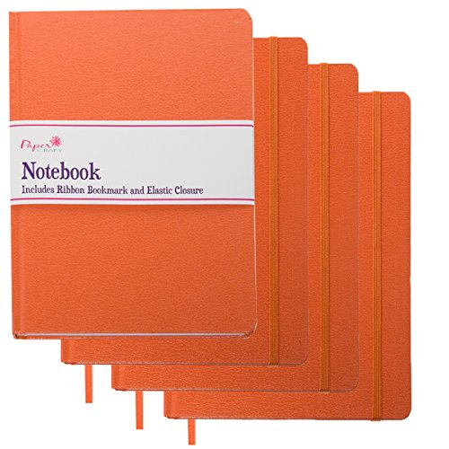 Paper Craft (4 Pack) 8.5 x 5.5 Leatherette Lined Writing Journals Wide Ruled Banded Notebook with Ribbon Bookmark, Orange, (a5 Size) ()