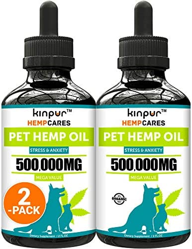 Kinpur (2 PACK | 500,000MG) Hemp Oil for Dogs & Cats - Anxiety Relief for Dogs & Cats - Pet Hemp Oil - Supports Hip & Joint Health - Made in USA - Natural Relief for Pain - Omega 3, 6 & 9