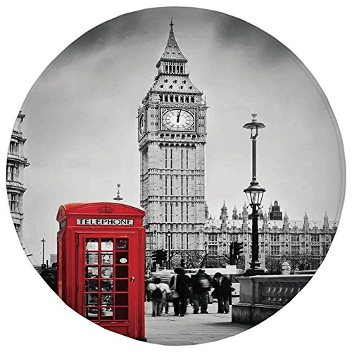 Round Rug Mat Carpet,London,Famous Telephone Booth and the Big Ben in England Street View Symbols of Town Retro Decorative,Red Grey,Flannel Microfiber Non-slip Soft Absorbent,for Kitchen Floor Bathroo (England Floor Rug)
