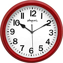 Solayman's Classic Round Wall Clock, Decorative, Modern, Basic Clock - Red