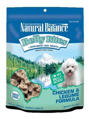 Natural Balance Belly Bites Semi-Moist Treats, 6-Ounce, Chicken and Legume