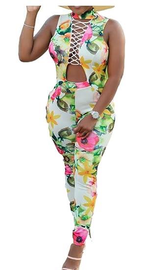 f436da63d295 Generic Womens Sleeveless Halter Backless Floral Print Bodycon Jumpsuit  Romper 1 XS