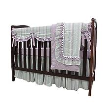 Sahaler Natural Washed Cotton 5 pieces set Purple ruffle Crib Bedding Set Nursery Crib Rail Guard Cover Set