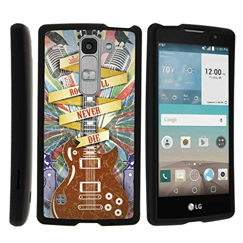 TurtleArmor | LG Escape 2 Case | LG Logos Case | LG Spirit Case LTE [Slim Duo] Slim Fitted Compact Hard Protector Snap On Case Rubberized on Black Music Design - Rock N Roll Never Die (Fitted Logo Roll)