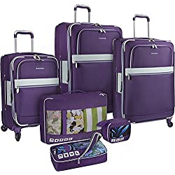 """U.S. Traveler Alamosa 6-Piece Softside Two-Tone Polyester Expandable Durable Lightweight Luggage Set With 3 Packing Cubes, Purple (22""""/27""""/31"""")"""