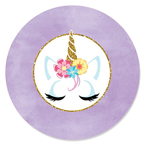 Rainbow Unicorn - Magical Unicorn Baby Shower or Birthday Party Circle Sticker Labels - 24 Count ()