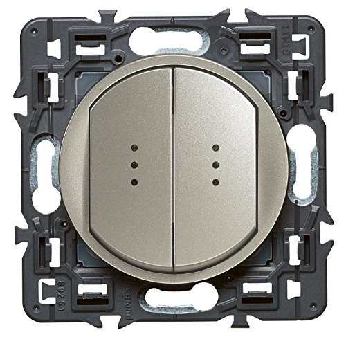 Legrand 099514 Céliane Interrupteur double lumineux, 250 V, Titane