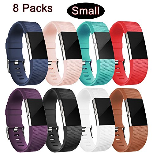[8 Color Pack] For Fitbit Charge 2 Bands, Replacement Strap Sport Fitness Accessory Band with Metal Clasps for Fitbit Charge 2, Small Size
