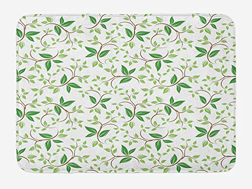 - Weeosazg Leaf Bath Mat, Ivy Patterns with Tiny Fancy Green Leaves Branches Creme Contemporary Illustration, Plush Bathroom Decor Mat with Non Slip Backing, 31.5 X 19.7 Inches, Green Brown