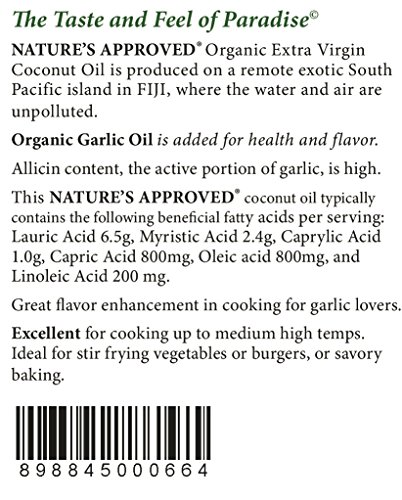 Organic Garlic Coconut Oil. Contains over 50% allicin. The Best Tasting Coconut Oil Certified Organic Extra Virgin Coconut Oil from the Beautiful Fiji Islands.(5 gal. Garlic) by Nature's Approved (Image #2)