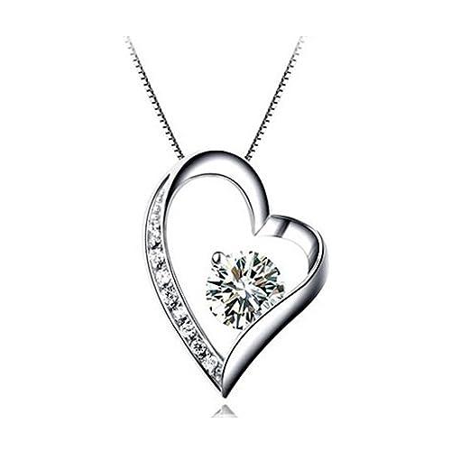 5fdb318f2e Collana in argento S925 Love - Collana con ciondolo a forma di cuore con  zirconi by Bravetzx: Amazon.it: Gioielli