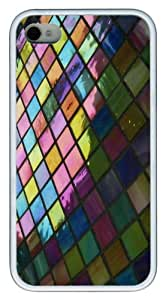 Mosaic pattern background TPU Custom Design iPhone 4/4S Case Cover - White
