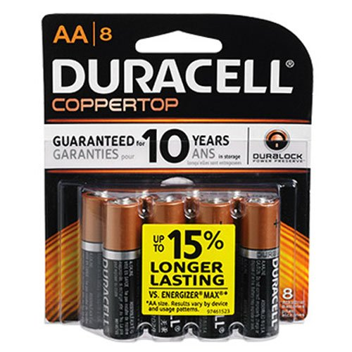 Duracell Coppertop AA Battery, 1.5 Volt, 8 ct