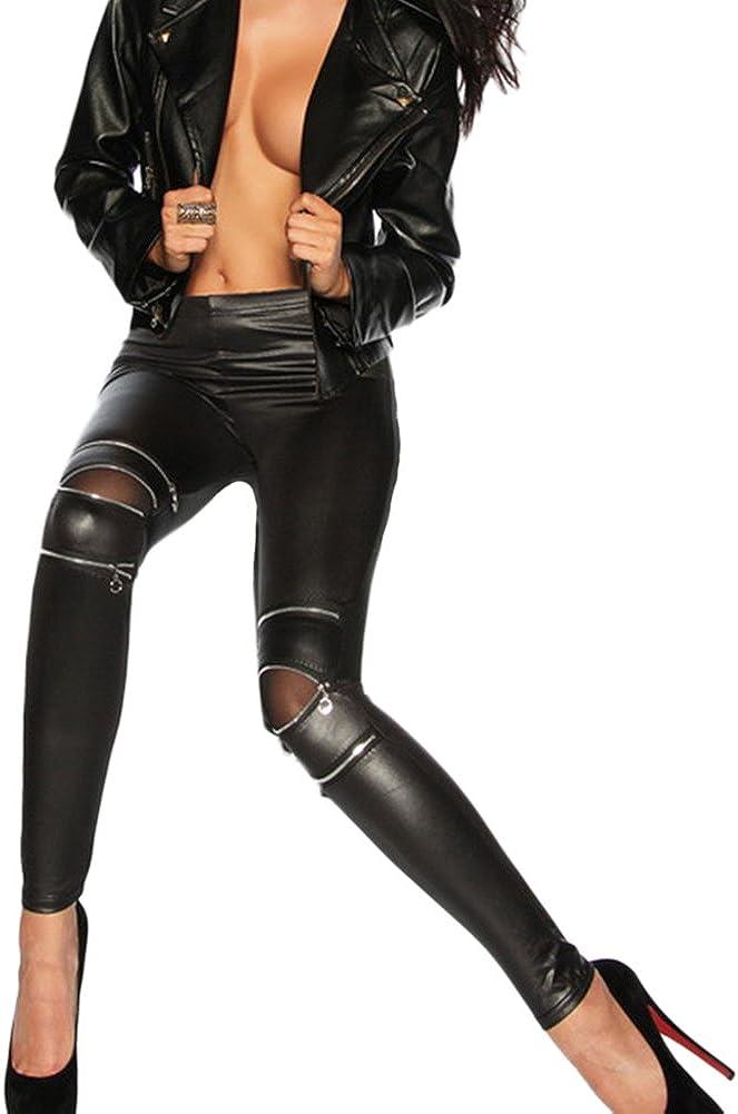 Qitun Mujer Leggings Cremallera Elásticos de Pantalones Largos Delgados de Imitación de Cuero