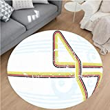Nalahome Modern Flannel Microfiber Non-Slip Machine Washable Round Area Rug-or Rainbow Colored Stripes Geometrical Style Image Road Way Like Artwork Image Multicolor Area Rugs Home Decor-Round 79'