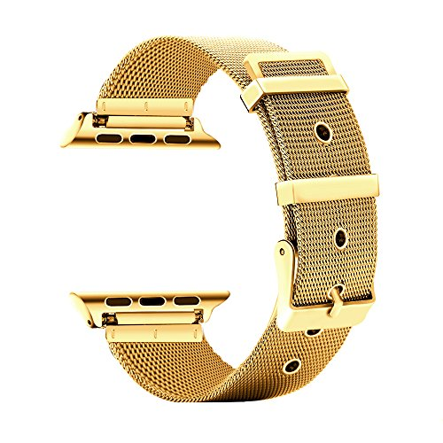 CUZOW for Apple Watch Band 38mm/40mm 42mm/44mm Women Men, Milanese Loop Stainless Steel Wristband Replacement Band for iwatch Edition Series 4/3/2/1(Gold 42mm/44mm)