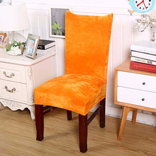 GBTRICON Velvet Plush Fabric Dining Chair Covers Removable Stretch Spandex Chair Protector Slipcovers for Wedding Party